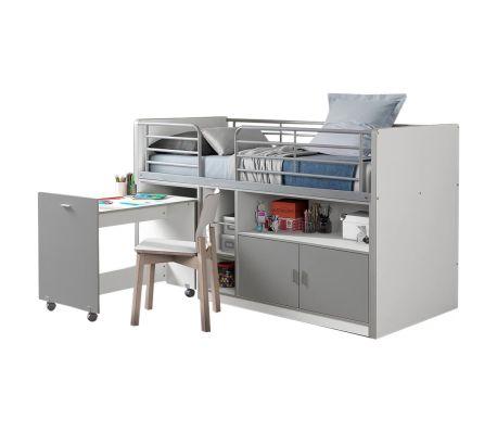 Lit combiné avec bureau et rangements avec sommier 90x200 gris blanc
