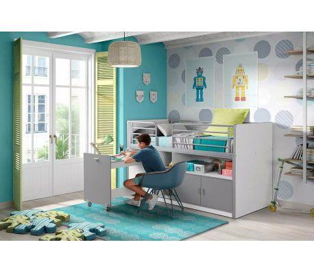 acheter lit combin avec bureau et rangements avec sommier 90x200 gris blanc pas cher. Black Bedroom Furniture Sets. Home Design Ideas