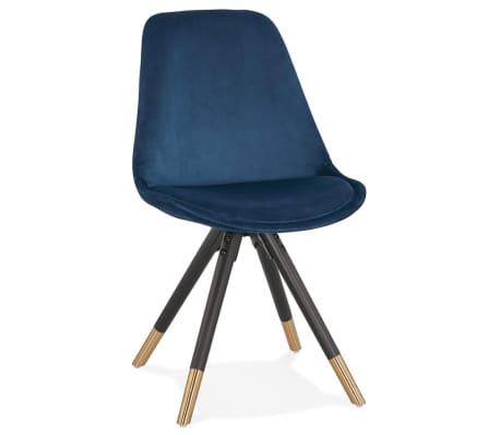 8 Zwarte Design Stoelen.Design Stoel Hamilton In Blauw Fluweel En Poten In Zwart Hout
