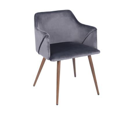 Lot de 2 chaises grises velours métal look bois[2/5]