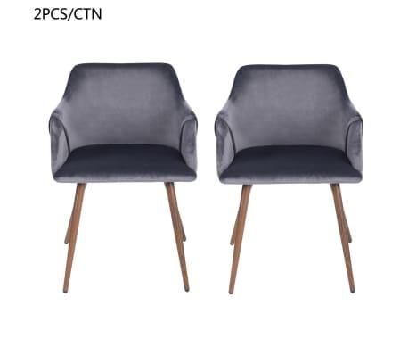 Lot de 2 chaises grises velours métal look bois[4/5]