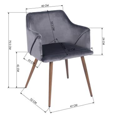 Lot de 2 chaises grises velours métal look bois[3/5]