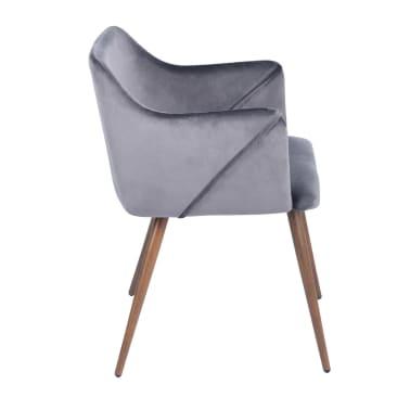 Lot de 2 chaises grises velours métal look bois[5/5]