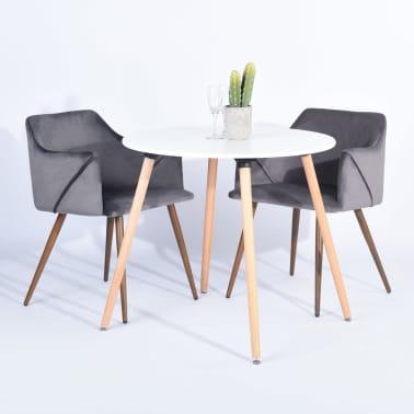 Lot de 2 chaises grises velours métal look bois[1/5]
