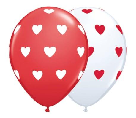 Ballonger Latex Röda och Vita med Hjärtan 6-pack