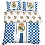 Real Madrid dekbedovertrek logo 220 x 200 cm wit/blauw