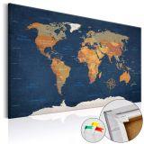 Obraz na korku - Atramentowe oceany [Mapa korkowa] 120x80