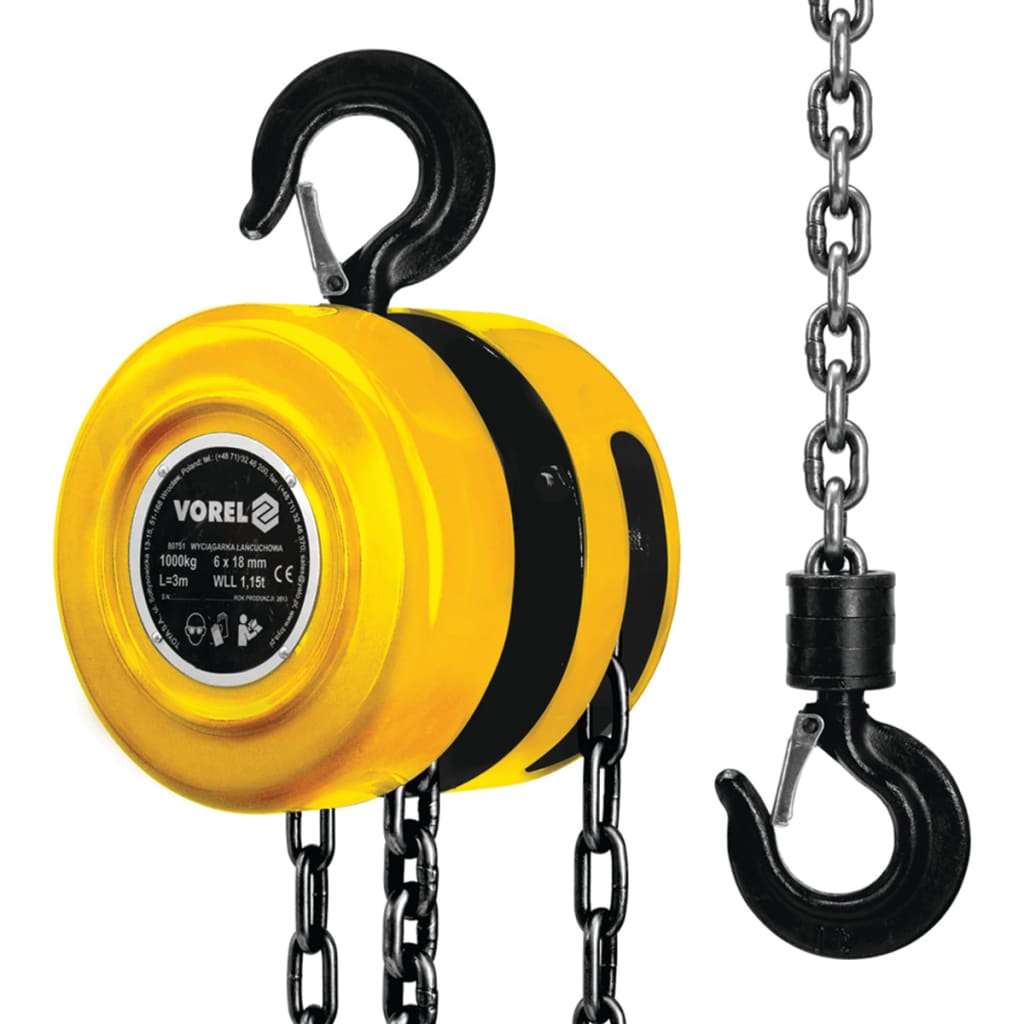 VOREL Scripete galben cu lanț de oțel, 1000 kg 80751 imagine vidaxl.ro