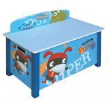 Coffre à jouet bleu Motif Super heros, L 68 x P 39 x H 49.5 cm