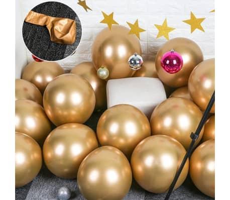 10x glansigt pärlauppblåsbart krom ballonger metalliskt guld