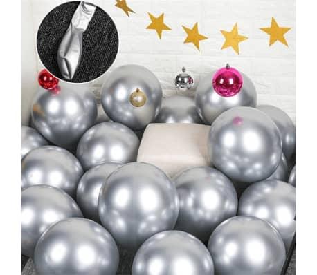 10x glansig pärla uppblåsbar krom ballonger metalliskt silver