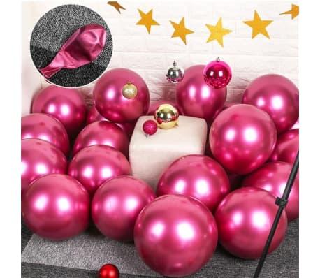 10x glansig pärlauppblåsbar krom ballonger metallröd