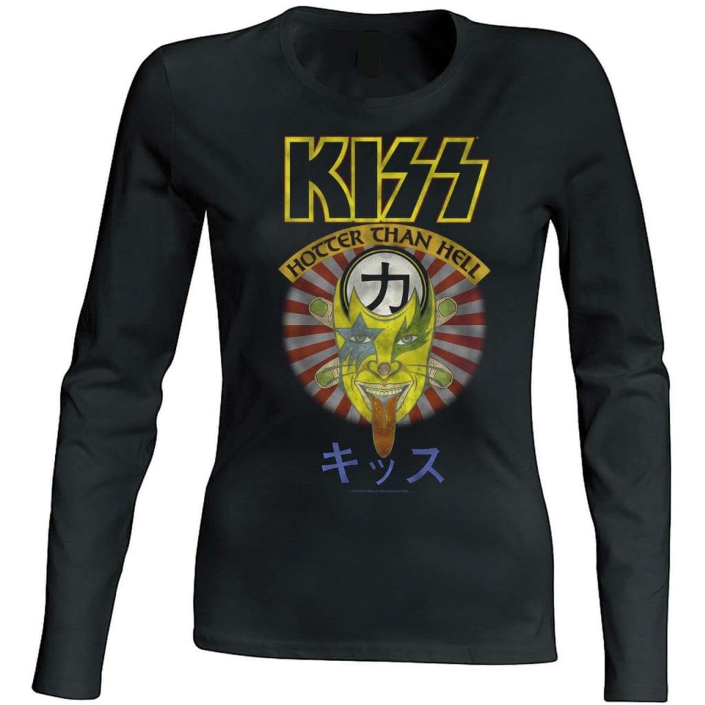 Kiss -Hotter Than Hell Naisten Pitkähihainen T-Paita