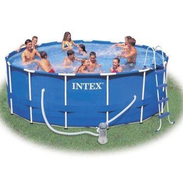 Intex metal frame zwembad incl filter pomp trap for Aanbieding zwembad met pomp