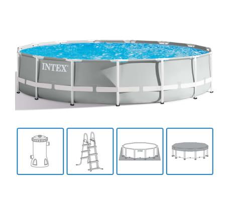 Intex opzetzwembad met accessoires Prism Frame Ø457 x 107 cm grijs