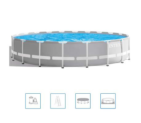 Intex opzetzwembad met accessoires Prism Frame Ø610 x 132 cm grijs