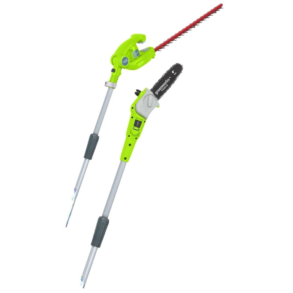 Greenworks Ferăstrău cu mâner și trimmer de gard viu fără baterie vidaxl.ro