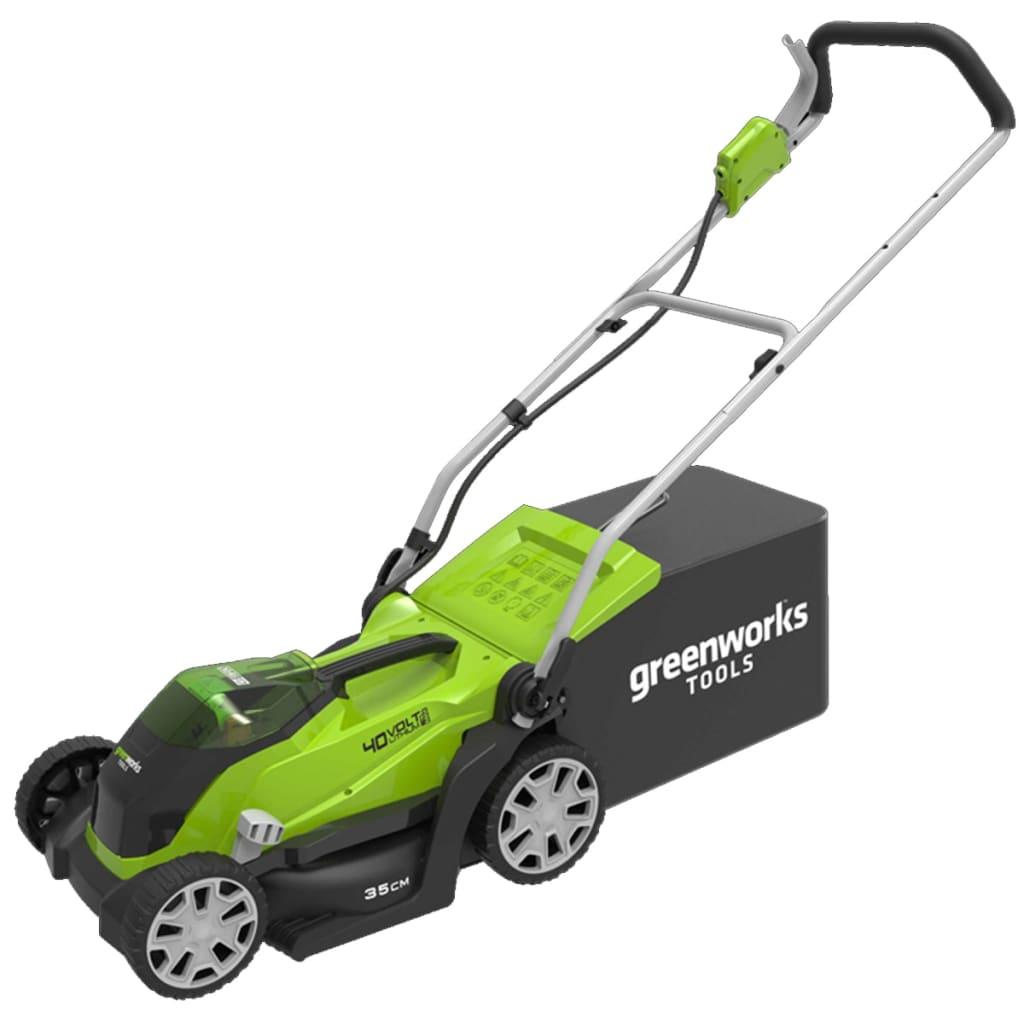 Greenworks Mașină tuns iarba 2 x baterie 2 Ah 40 V G40LM35, 2501907UC vidaxl.ro