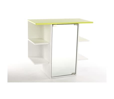 Armoire salle bain miroir blanc vert anis