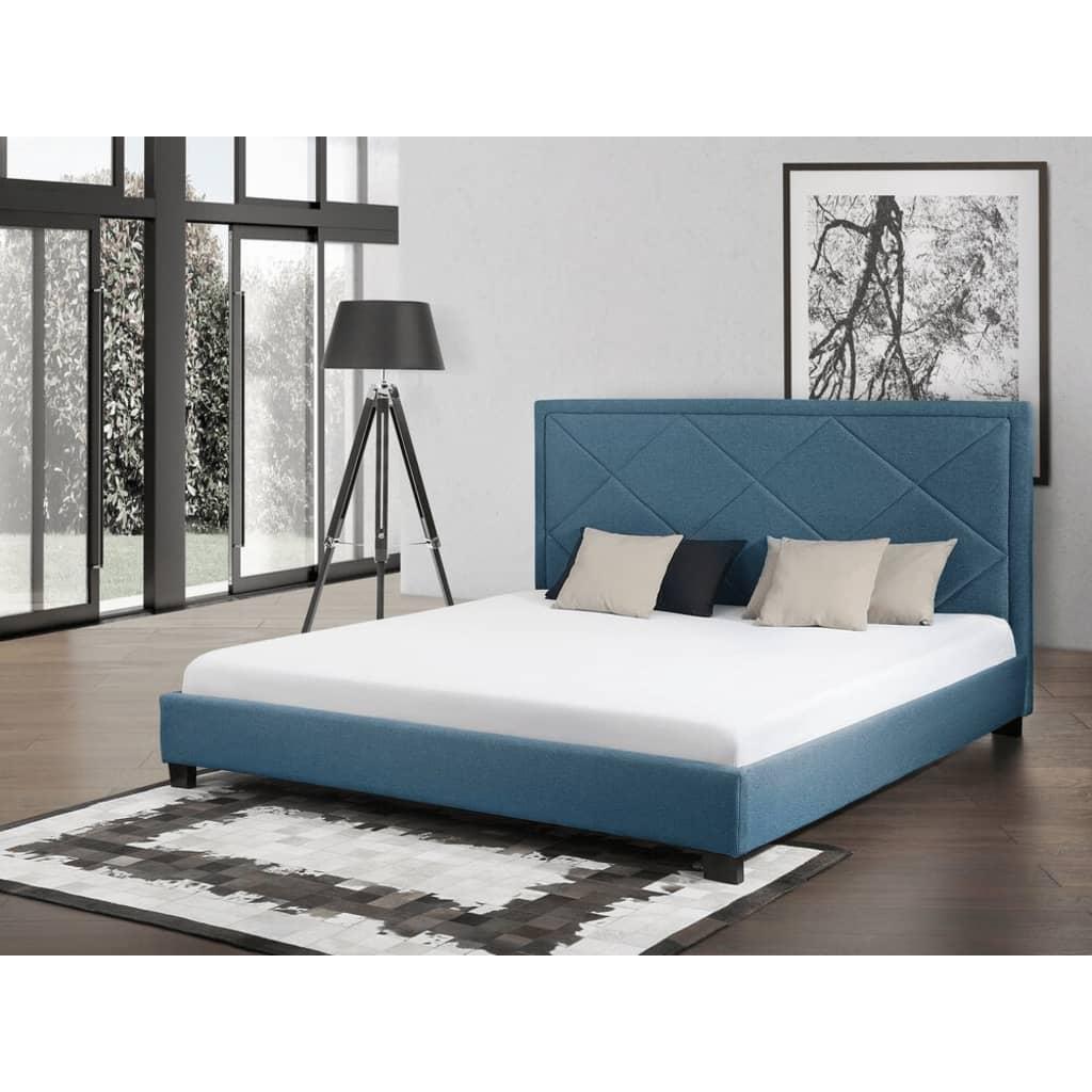 Beliani Marseille - Bed Stof donkerblauw 180 x 200 cm