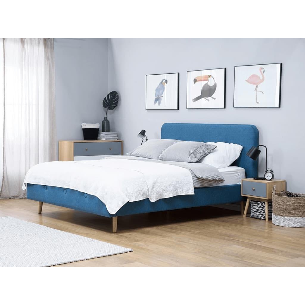 Beliani Rennes - Bed Stof donkerblauw 140 x 200 cm