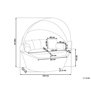 acheter lit de jardin en rotin capote imperm able et coussins beiges sylt pas cher. Black Bedroom Furniture Sets. Home Design Ideas