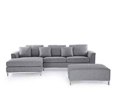 Sofá cinza claro - Estofado - 4 pessoas - Sofá seccional + Repousa-pés
