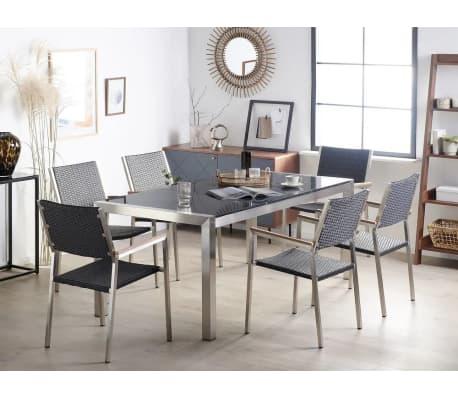 gartentisch edelstahl granit grau poliert 180 x 90 cm grosseto g nstig kaufen. Black Bedroom Furniture Sets. Home Design Ideas