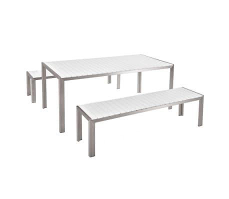 gartenm bel set kunstholz weiss 2 b nke nardo g nstig kaufen. Black Bedroom Furniture Sets. Home Design Ideas
