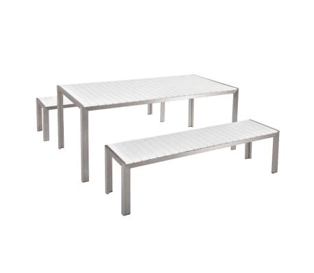 Conjunto de jard n en aluminio mesa 180 cm 2 bancos for Conjunto jardin aluminio