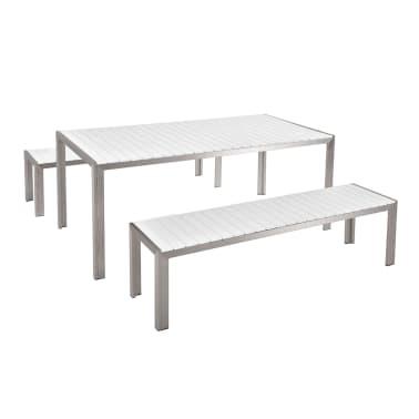 Acheter Table de jardin avec deux bancs aluminium plateau en ...