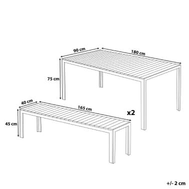 Set di tavolo e panche da giardino in alluminio e legno - Tavolo e panche da giardino ...