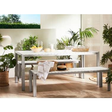 Table de jardin avec deux bancs aluminium plateau en ...
