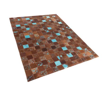 acheter tapis en peau de vache 160x230 cm brun bleu aliaga pas cher. Black Bedroom Furniture Sets. Home Design Ideas