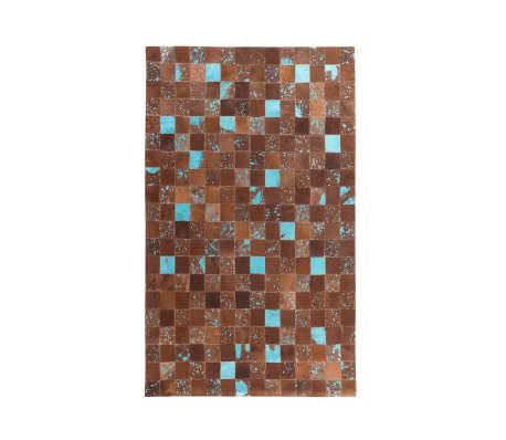 Tapis marron et bleu en peau de vache 160 x 230 cm ALIAGA   vidaXL.be