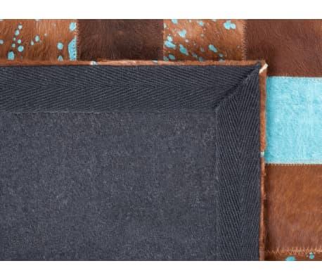 Tapis marron et bleu en peau de vache 160 x 230 cm ALIAGA | vidaXL.fr