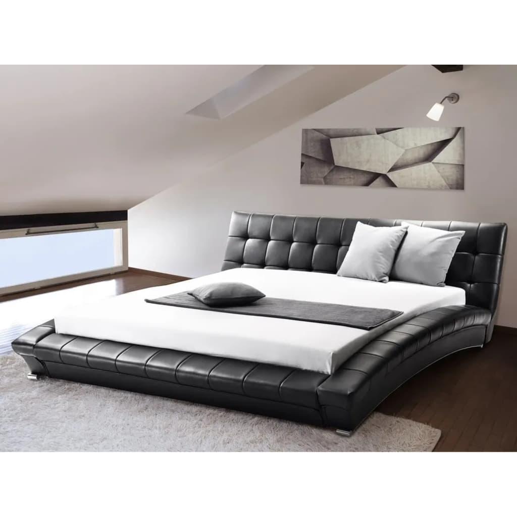 Beliani Lille - Bed Leer zwart 160 x 200 cm