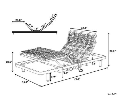 acheter sommier lattes lectrique inclinaison r glable 90x200 cm star pas cher. Black Bedroom Furniture Sets. Home Design Ideas