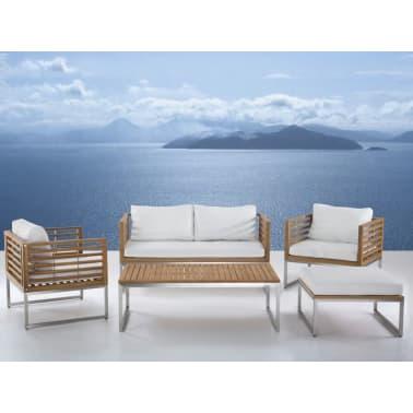Gartenmöbel Set Holz 4 Sitzer Auflagen Weiss Bermuda Zum