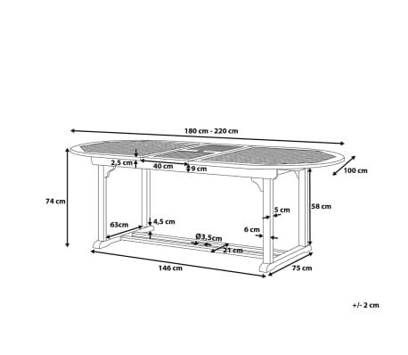 Gartentisch Holz 180 220 X 100 Cm Ausziehbar Toscana Gunstig Kaufen