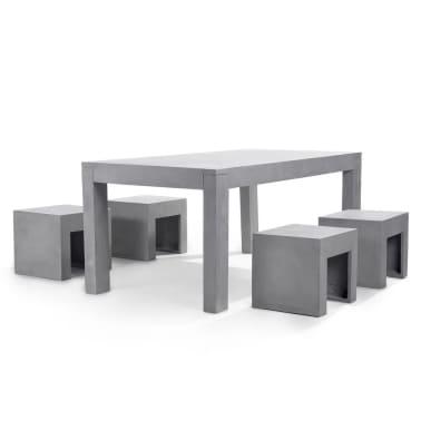 Tavoli Da Esterno In Cemento.Set Di Tavolo In Cemento E 4 Sedie Da Giardino Taranto Vidaxl It