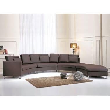 Sofá redondo marrón, sofá de piel, sofá 7 plazas, ROTUNDE | vidaXL.es