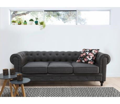 acheter canap chesterfield design en couleur gris chesterfield pas cher. Black Bedroom Furniture Sets. Home Design Ideas