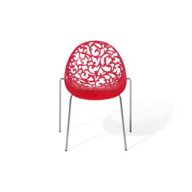 chaise de salle 224 manger rouge design en plastique
