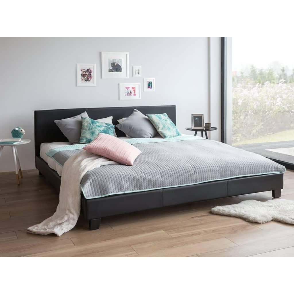 Beliani Orelle - Bed Kunstleer zwart 180 x 200 cm