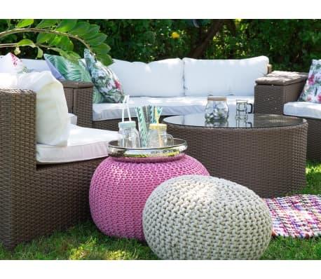lounge set rattan hellbraun 9 sitzer rund auflagen weiss. Black Bedroom Furniture Sets. Home Design Ideas