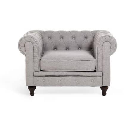 acheter fauteuil fauteuil en tissu fauteuil gris clair chesterfield pas cher. Black Bedroom Furniture Sets. Home Design Ideas