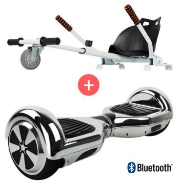 Pack Hoverkart Blanc + Hoverboard Argenté Bluetooth[1/1]