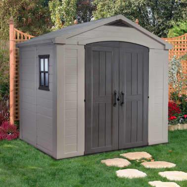 acheter keter abri de jardin factor 86 8 x 6 beige 211248 pas cher. Black Bedroom Furniture Sets. Home Design Ideas