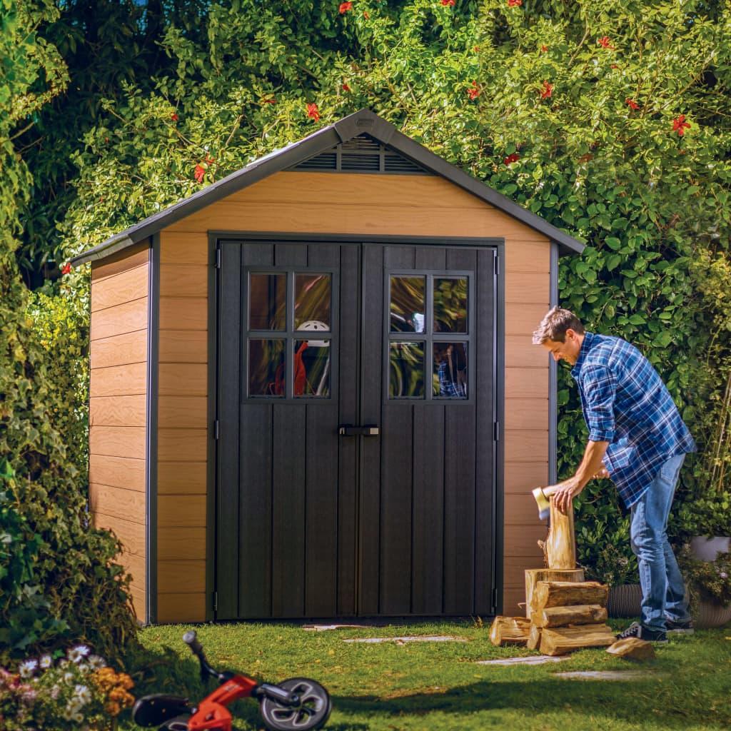 Keter Opbergschuur Woodshield 757 hout-look bruin 243409